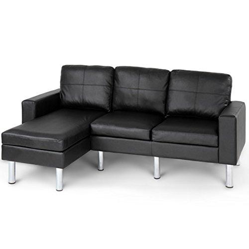 Miadomodo divano angolare ad angolo similpelle nero ca. 192/116/75 cm