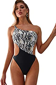 SweatyRocks Women's One Shoulder Bathing Suit Cutout One Piece Snakeskin Swim