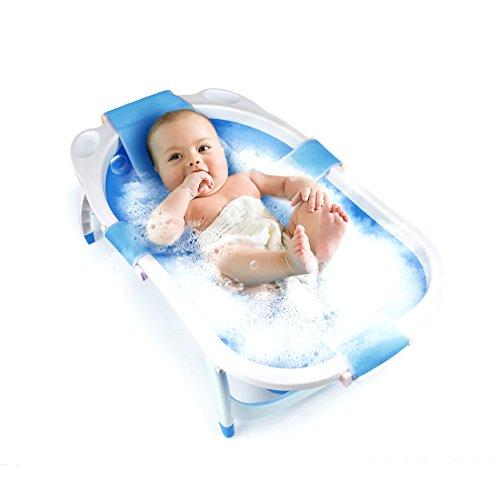 Fascol faltbar kinderbadewanne, Babybadewanne mit Shampoo Gap und Sicherheitsnetz, Baby Pool Länge 80 cm, Blau