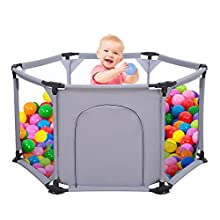 Kids 6-Panel Playard Playpen Portable Washable Aqua Play Center Fence with Breathable Mesh for Babies Toddler Newborn Infant, Indoor and Outdoor Play (Grey)