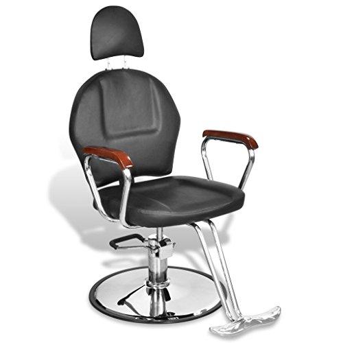 Anself sedia da parrucchiere professionale in ecopelle nera con poggiatesta