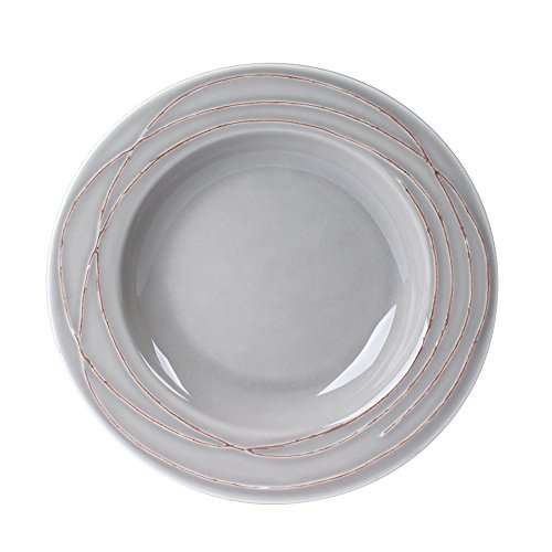 TABLE PASSION - ASSIETTE CREUSE 23 CM FILIA GRIS (LOT DE 6)