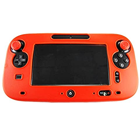 Pandaren® silicone skin cover for Nintendo Wii U tablet controller(red) + thumb grips x 2