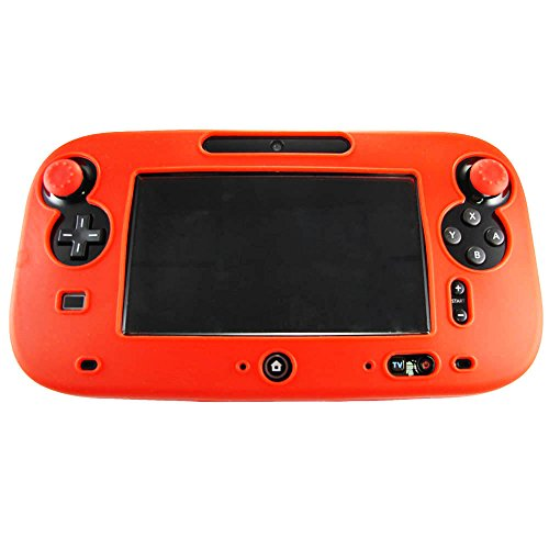 Pandaren® Cubierta piel Fundas Protectores silicona para el mando tablet Nintendo Wii U (rojo) + thumb grip x 2