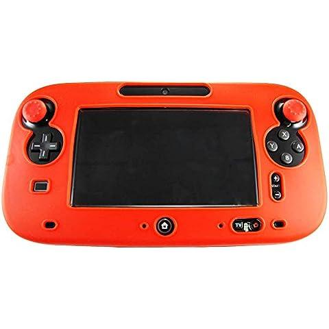 Pandaren® della pelle skin cover in silicone per il controller tablet di Nintendo Wii U (rosso) + presa pollice thumb grips x 2
