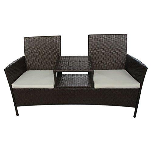 vidaXL Poly Rattan 2-Sitzer-Bank mit Teetisch Braun Gartenbank Gartenmöbel Set