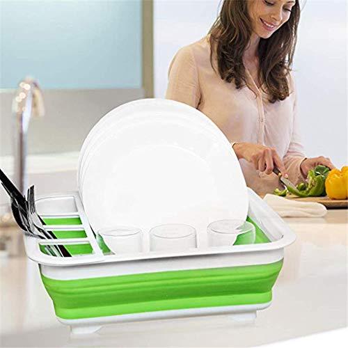 Ckssyao Zusammenklappbar Dish Drainer mit Abtropffläche Board - Faltbarer Wäschetrockner Set - Tragbare Essgeschirr Organizer - Platzsparend Küche Storage Tray,Grün
