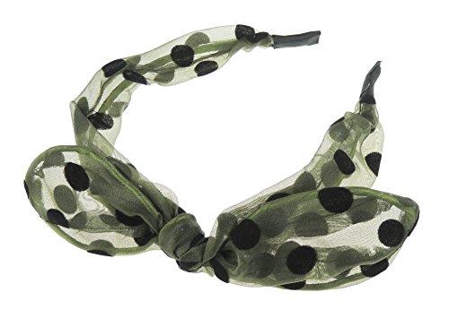 Damen Mädchen schmal Cute Polka Dot Sheer Chiffon verdeckt Kopfband alice Band (Olive Grün) -