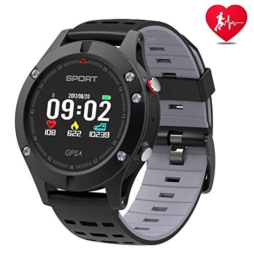 OJBDK Running Watch Sport Bluetooth con termometro del barometro dell'altimetro e Tracker per Il Fitness GPS Integrato IP67 Impermeabile Monitor per la frequenza cardiaca Avventurieri,Black