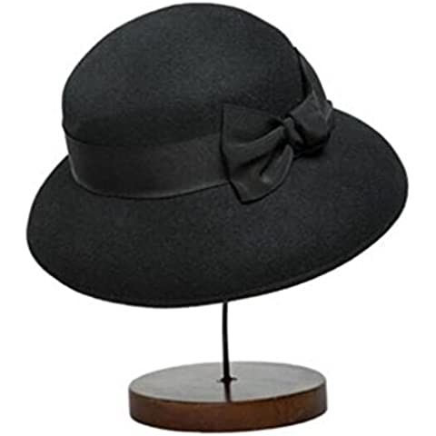 WE&ZHE Della donna lana cappello di feltro marea Inghilterra Stile decorazioni Bowler Fedora In autunno e in inverno , black
