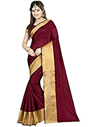 Silverstar Women's Cotton Silk Saree With Blouse Piece (Plain 1120 Maroon Cotton_Maroon)