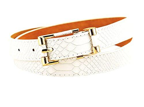 Cinturón de mujer - blanco - pitón - Piel sintética - Hebilla de color dorado - LT - 003