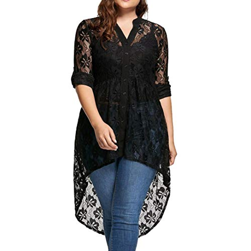 Gestreifte Button-up-shirt (ESAILQ Frau Langarm Spitzenhemd Perspektive Button Up Top(XXL,Schwarz))
