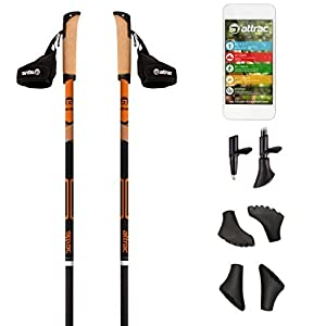 POWRX Nordic Walking Stöcke Carbon Light mit Handgelenkschlaufen inkl. Workout | GRATIS – Nordic Walking/Fitness App