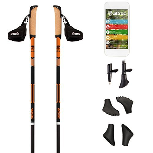 Nordic Walking Stöcke Carbon Light mit Handgelenkschlaufen | GRATIS - Nordic Walking/Fitness App