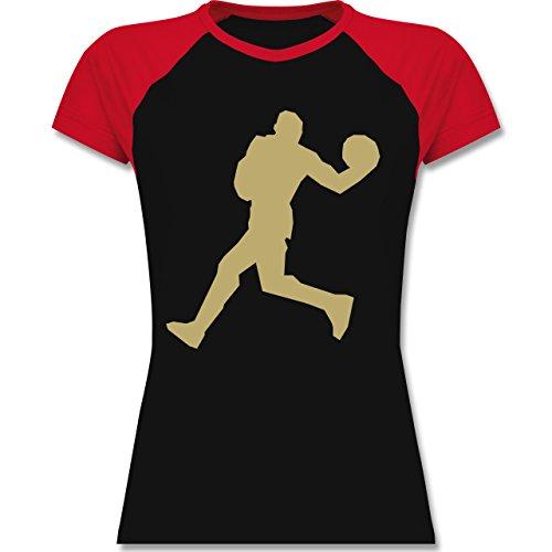 Basketball - Basketball - zweifarbiges Baseballshirt / Raglan T-Shirt für Damen Schwarz/Rot