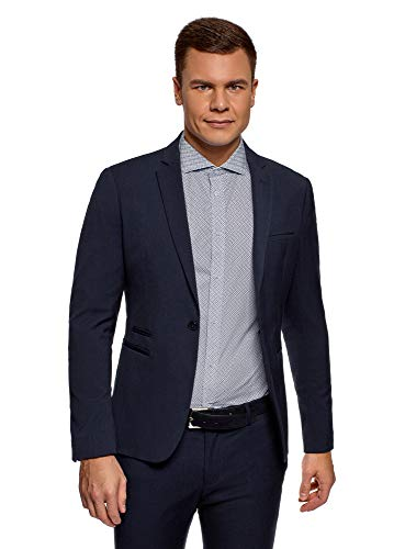Oodji Ultra Men's American Fitted with Button, Blue, ES 48 / S