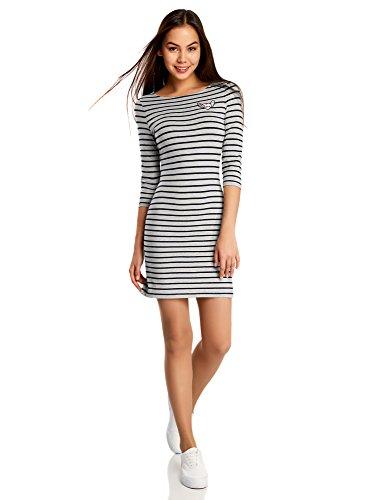 oodji Ultra Damen Kleid mit Flügelherz-Applikation, Grau, DE 38 / EU 40 / M (Gestreiftes Herz Kleid)