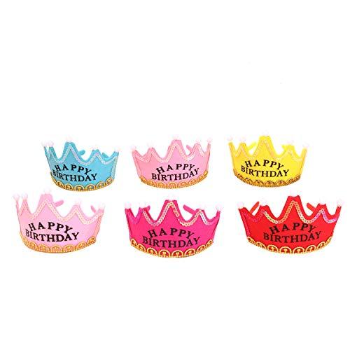 Toyvian 6 STÜCKE Schöne Happy Birthday Crown Party Tiara Leuchten Blinkende LED Prinzessin Crown Hairband Haarband Stirnband Birthday Party Supplies (Zufällige Farbe)