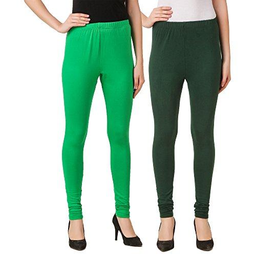 Svadhaa Green Bottle Women's Cotton Lycra Churidar Leggings combo(Pack of 2)