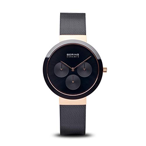 BERING Damen Analog Quarz Uhr mit Edelstahl Armband 35036-166