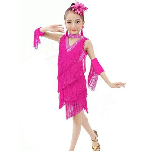 Byjia Kindertagskind Tanzen Outfit Latin Tanzkleid Kostüm Performance Professionelle Studenten Gruppe Team Indien Mädchen Sequins Quaste Röcke . 3# . (Kostüme Gruppe Halloween Mädchen Drei)