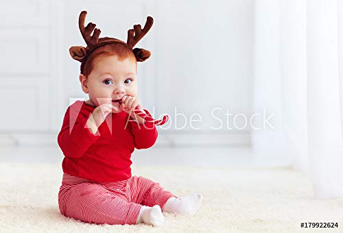 druck-shop24 Wunschmotiv: Cute Little Redhead Baby Boy with Reindeer Band Tasting Christmas Sweet Treats, Sitting on The Floor at Home #179922624 - Bild auf Forex-Platte - 3:2-60 x 40 cm / 40 x 60 cm Boys Christmas Band