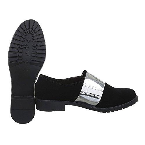 Ital-Design , chaussons dintérieur femme noir/blanc