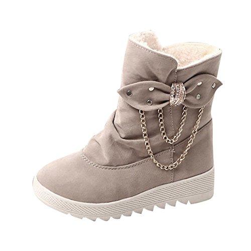 Botines Planos de Cuña para Mujer Zapatos Plataforma Gris por ESAILQ H
