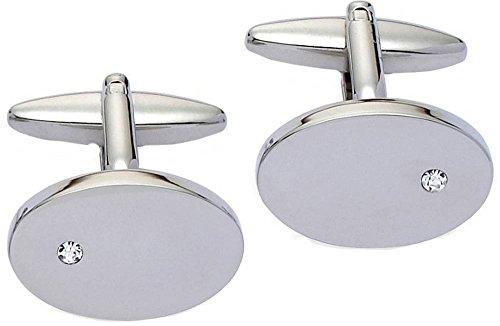 Cancella / argento ovali di cristallo Gemelli di (Cancella Ottone)