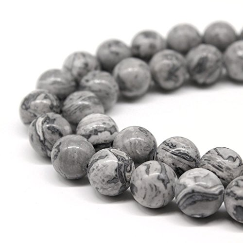 Jartc AAA Map Gris naturel Pierre Perles Spacer Perles pour DIY Bijoux Bracelet Collier 38,1 cm, gris, 6mm