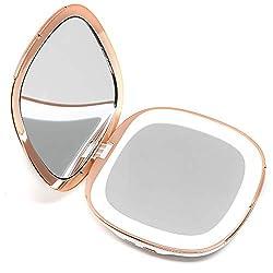Fancii wiederaufladbar Taschenspiegel mit Dimmbares LED Licht, 1X / 10X Vergrößerung - Make Up Spiegel Klein Kosmetikspiegel Beleuchtet für Unterwegs (Weiß)