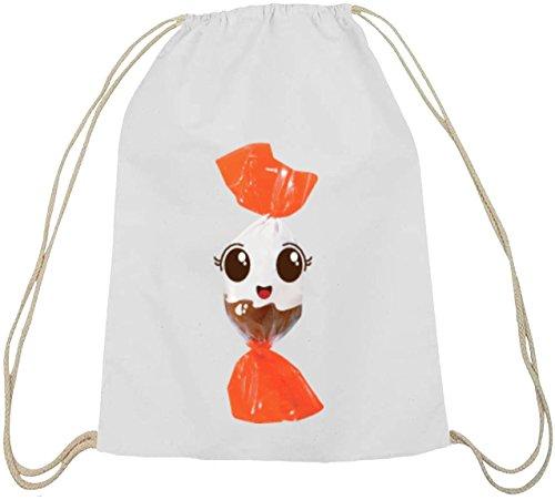 (ShirtStreet Turnbeutel süßes Schokoladen BonBon Partner Kostüm für Fasching Karneval für Naschkatzen, Größe: onesize,weiß natur)