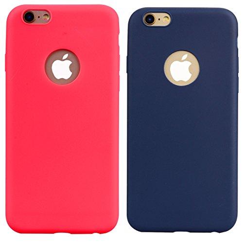Cover iPhone 6 Plus / 6S Plus (5.5),ToDo Custodia iPhone 6 Plus Gel Silicone TPU Morbido Elegant Ultra Tinta Unita Sottile Opaco Flessibile Gomma Cassa Protettiva Antiurto AntiGraffio Antiscivolo Leg Rosso + Blu