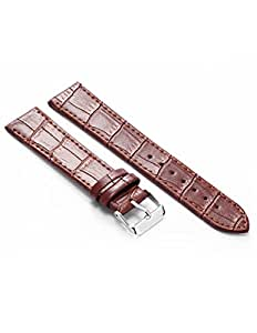 KS 20mm Military Brown Leather Mens Replacement Watch Band Straps WB2041