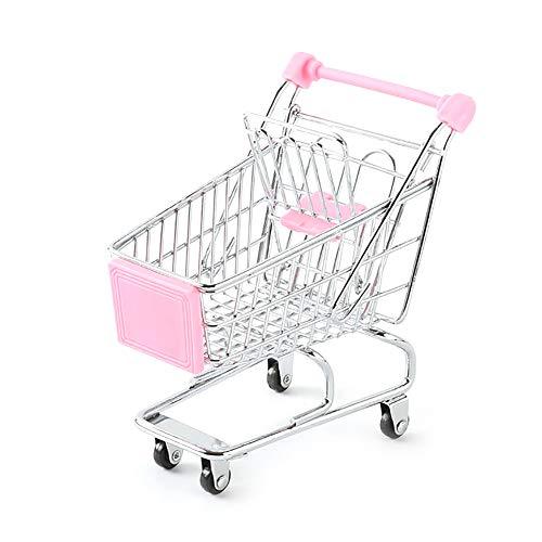 1 PC Mini Warenkorb kreatives Design Supermarkt Handcart Mini Supermarkt Speicher Spielzeug Supermarkt-Korb-Aufbewahrungswagen Spielzeug (pink) (Warenkorb-geschenk-korb)