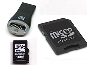 KOMPUTERBAY 16GB microSDHC Memory Card with free USB 2.0 Reader and SD Adapter - Ultra High Speed Class 6