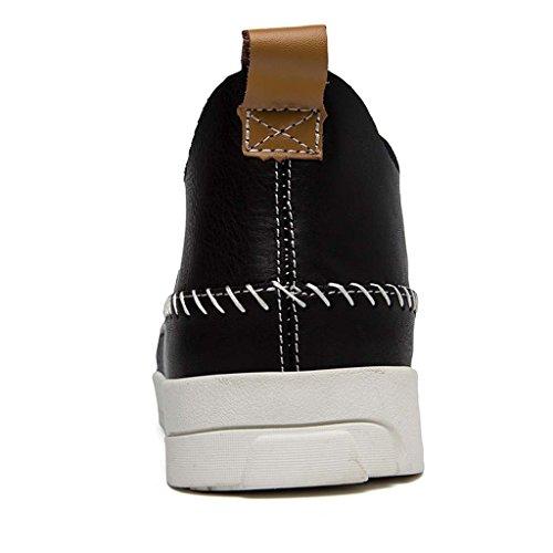 ZXCV Scarpe all'aperto Autunno e inverno Sport all'aria aperta per il tempo libero alto in pelle cucita a mano traspirante basso per aiutare gli uomini giovani scarpe marea Nero