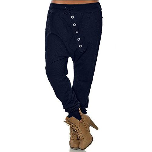 OYSOHE Damen Haremshosen Taste Baggy Hose Hose mit Tunnelzug Sporthose Jogginghose(Dunkelblau,XXX-Large)