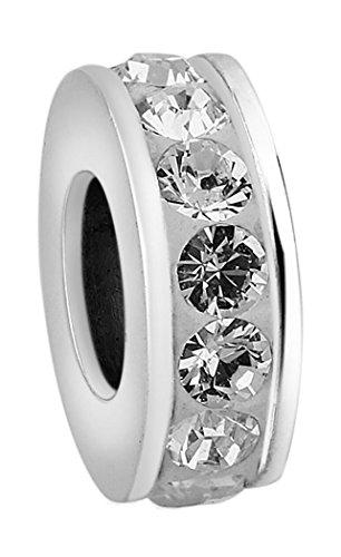 Nenalina Bead mit Swarovski Crystal weiß in 925 Sterling Silber, auch kompatibel für Pandora Beads Armbänder, 718077-001 -
