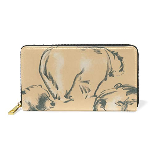 XiangHeFu Brieftasche Frauen Geldbörse Bears Clutch Bag Zipper Leder