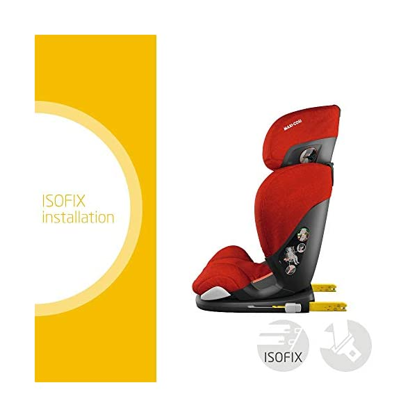 Maxi-Cosi RodiFix AirProtect Child Car Seat, ISOFIX Booster Seat, Extra Protection, 3.5-12 Years, 15-36 kg, Nomad Red Maxi-Cosi Outstanding side impact protection - with the combination of patented air protect technology Patented air protect technology in headrest - the risk of head and neck injuries are reduced up to 20% Quick and easy to buckle your child up with the 'easy-glide' system and clear belt routing 2