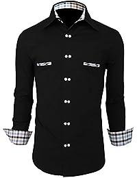 Newfacelook Mens Shirts Casual Slim fit Dress Business Full Sleeve Shirt DPS