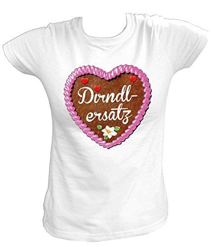 Artdiktat Damen T-Shirt - Lebkuchenherz - Dirndlersatz Größe L, weiß