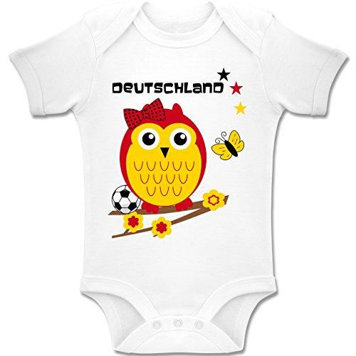 Shirtracer Fußball-Weltmeisterschaft 2018 - Baby - Deutschland Eule - 12-18 Monate - Weiß - BZ10 - Baby Body kurzarm Jungen Mädchen (Butterfly Bio-baby-body)