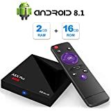 Android 8.1 TV Box, A5X Plus Mini 4K Full HD Smart TV Box Equipado con RK3328 Quad Core 2GB RAM 16GB ROM 2.4GHz WiFi 100M LAN Ethernet