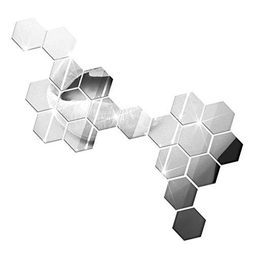 DierCosy Hexagon Acryl-Wand-Aufkleber 12st Removable Silber Spiegel Flugzeug Abziehbilder Wanddekoration (Abziehbild-wand-aufkleber)