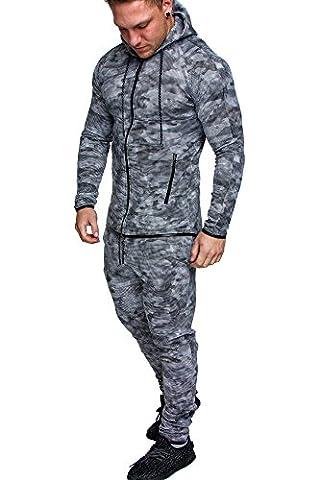 Amaci&Sons Herren Kontrast Sportanzug Jogginganzug Trainingsanzug Sporthose+Jacke 1006 Camouflage Schwarz