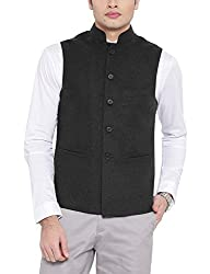 Platinum Studio Mens Mandarin Collor Waistcoat (NJ-749-GRY-38, Grey )