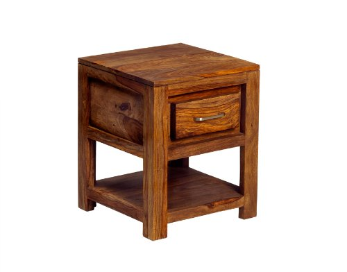 Z03 Zen Range - Lamp Table - Natural Sheesham - Solid Indian Hardwood - No Assembly Required